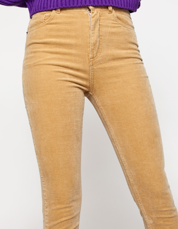 Beige Mom Slim Cord Hose