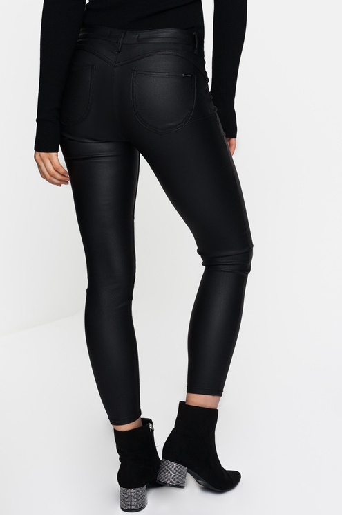 Black Faux-Leather Trousers