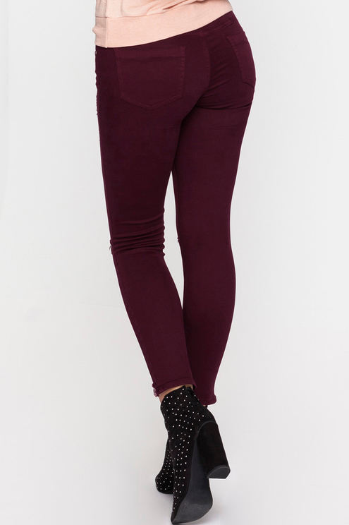 Dark Red Ripped Trousers