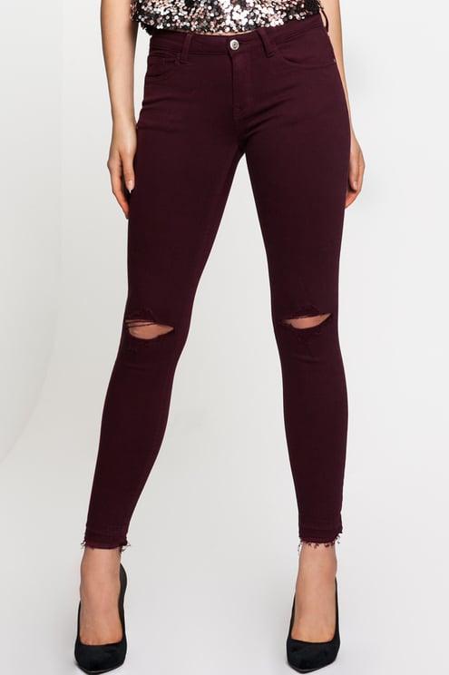 Raspberry Red Skinny Trousers