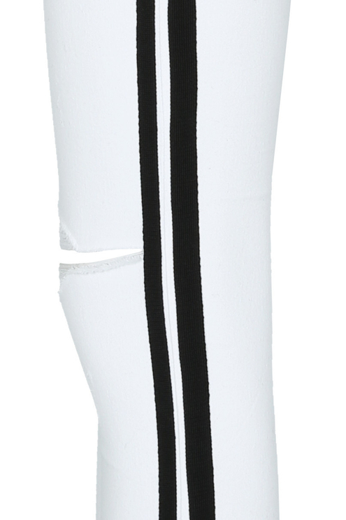 White Trousers with Black Bands