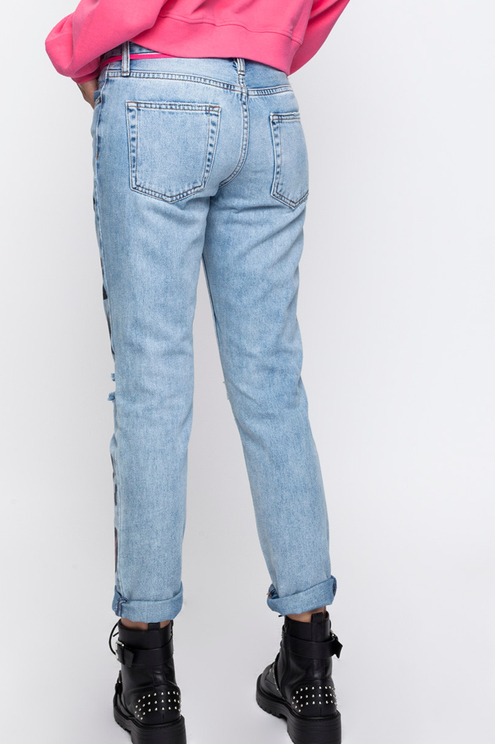 Blue Printed Boyfriend Jeans