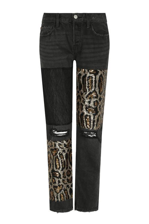 Black Sequin Boyfriend Jeans