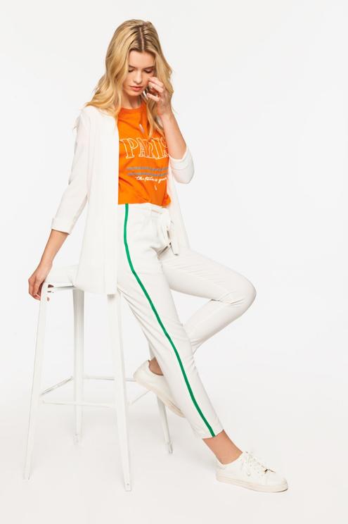 Pantalon Blanc à Bandes Latérales