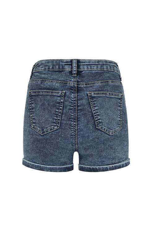 Dunkelblaue, verwaschene Denim Shorts