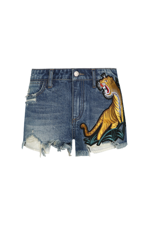 Blue Denim Tiger Mini Shorts