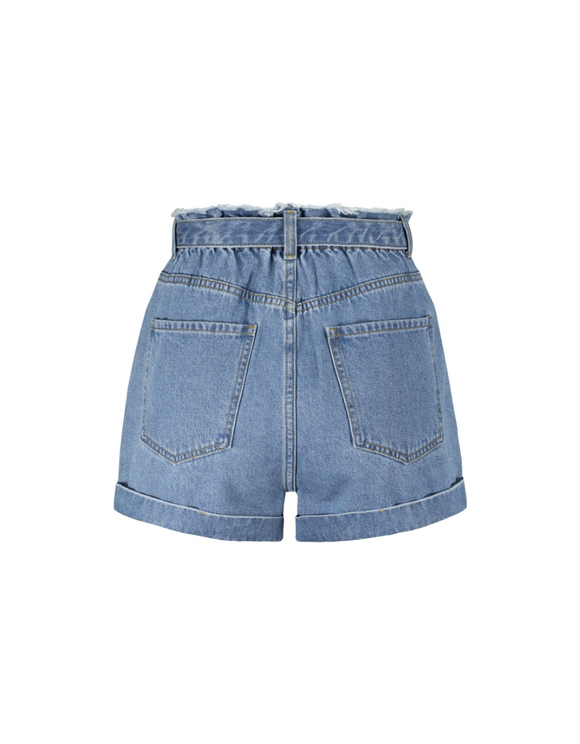 Paperbag Denim Shorts