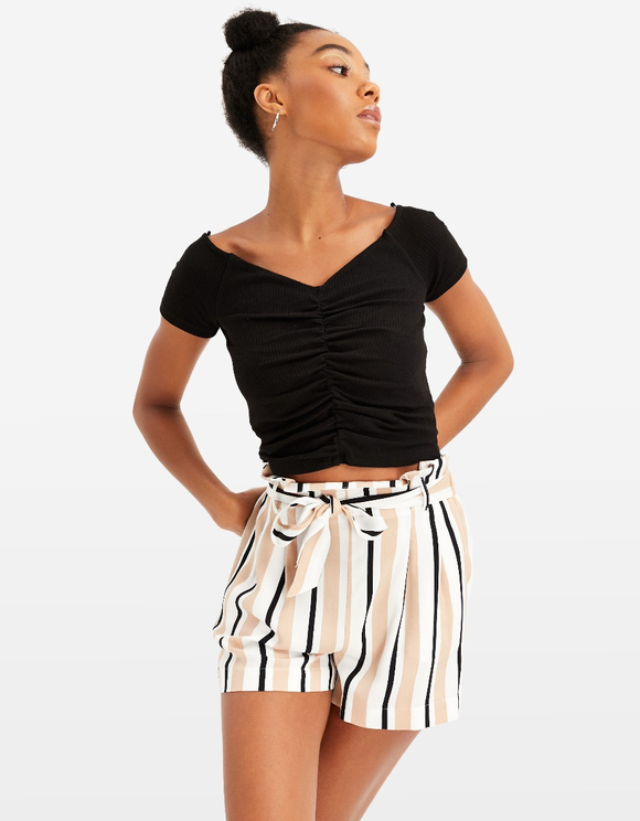 Gestreifte Paperbag Shorts