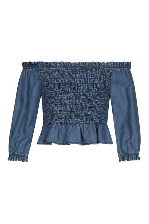 Blaue Denim Bluse