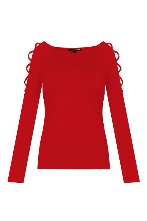 Red Top with Lattice Shoulders