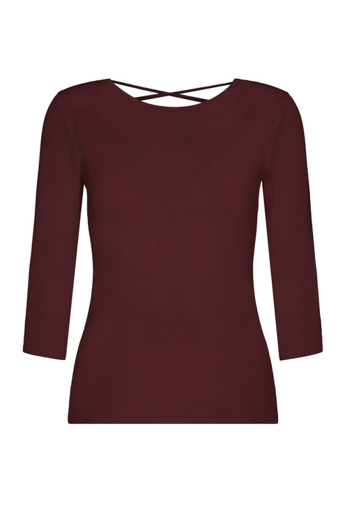 Top Bordeaux Manches 3/4