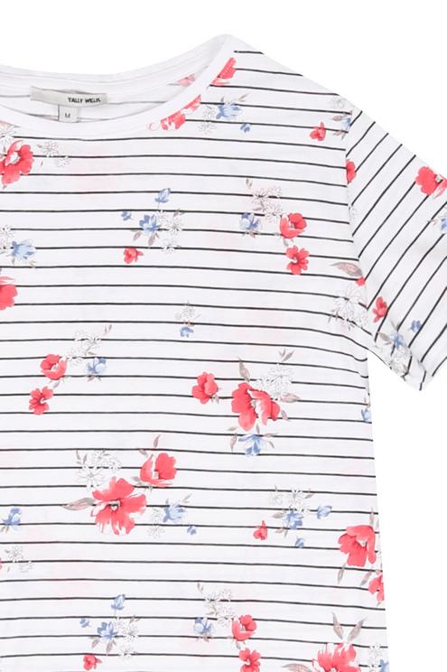 Tshirt bianca maniche corte a righe e fiori