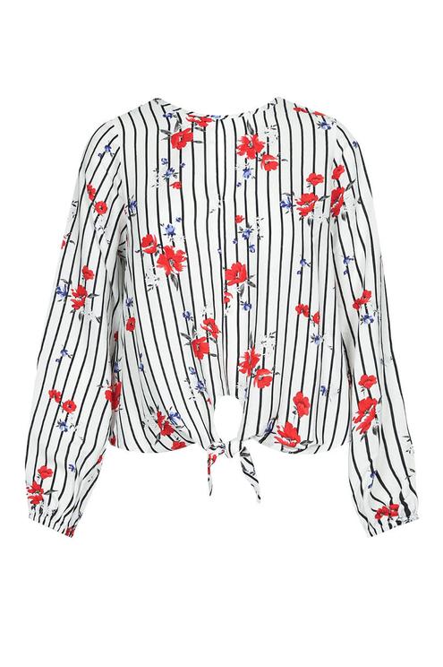 Floral Tie Front Blouse