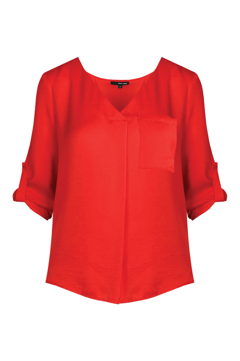 Red Sateen Blouse