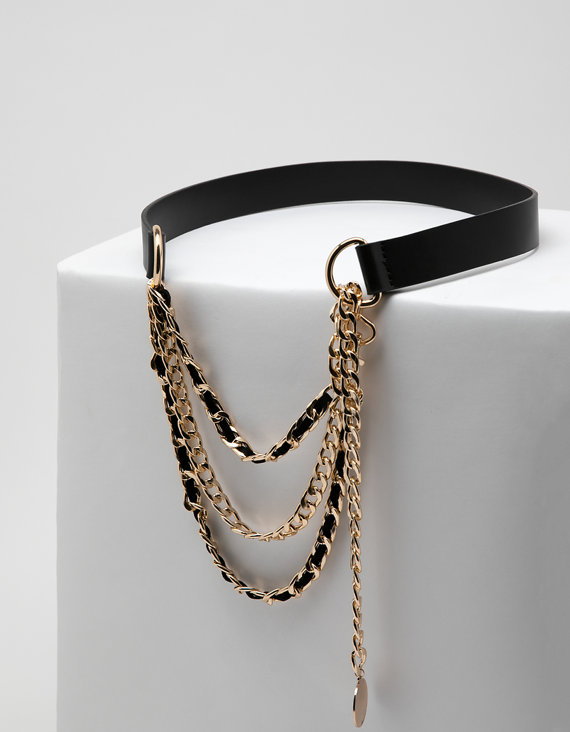 Black and Gold Triple Chain Belt