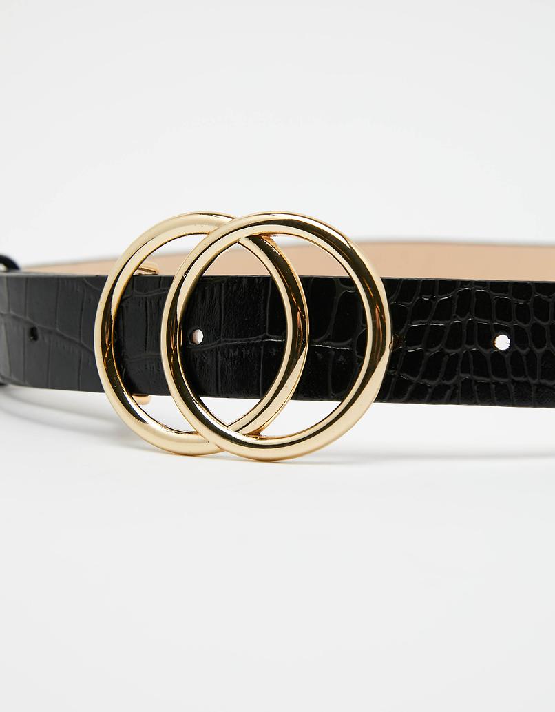 Black Belt with Round Buckles