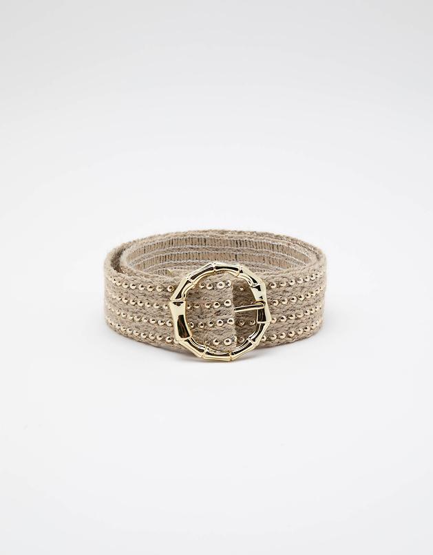 Beige Belt with Golden Details
