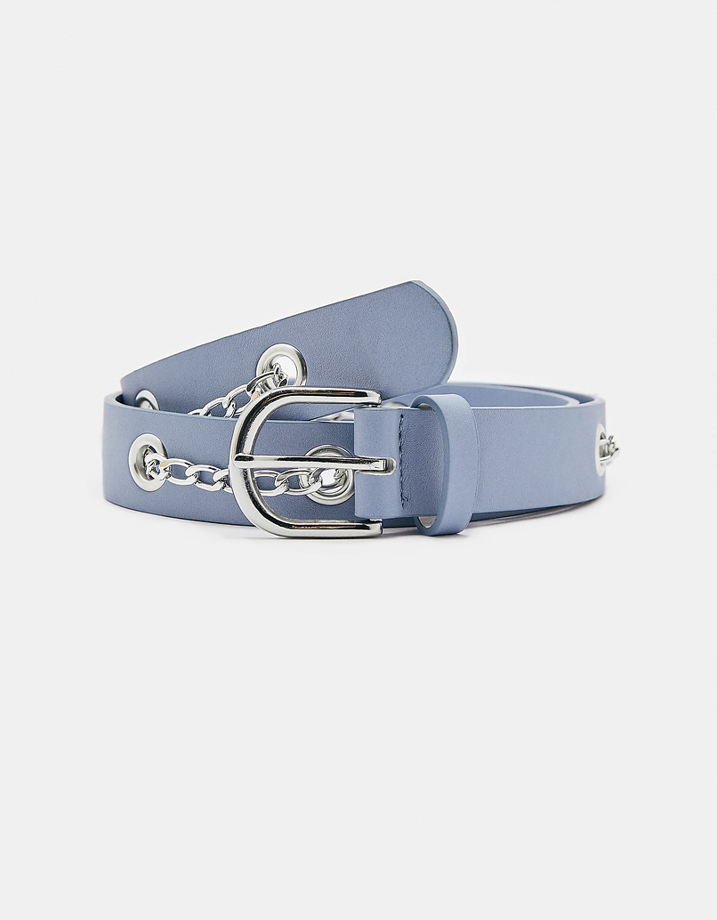 Blue Belt with Eyelets and Chains