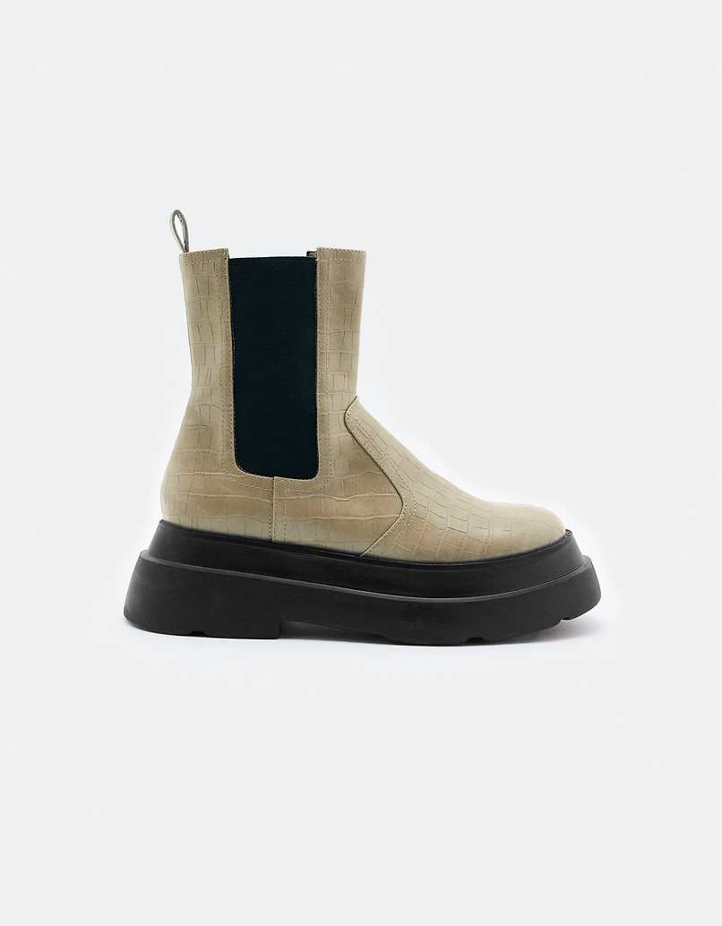 Beige Chunky Sole Ankle Boots