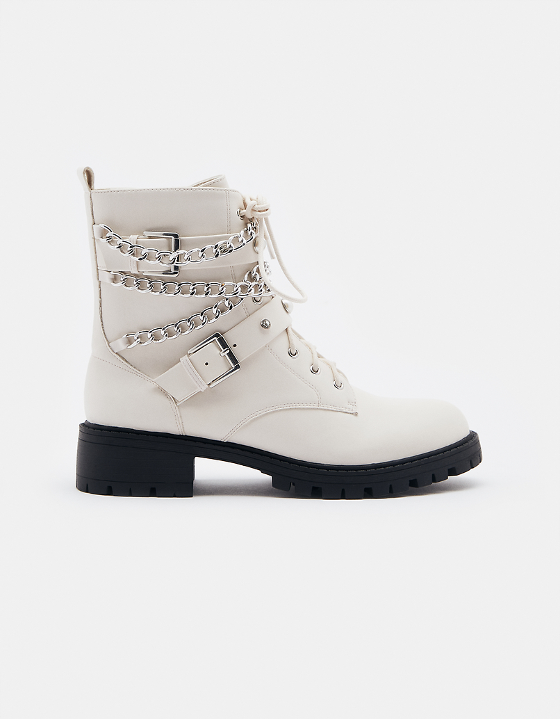 White Ankle Boots with Chain