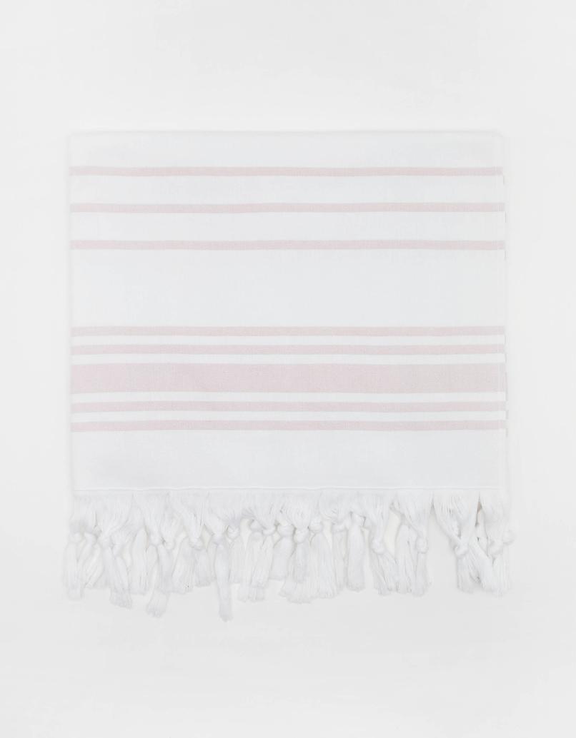 White Striped Beach Towel