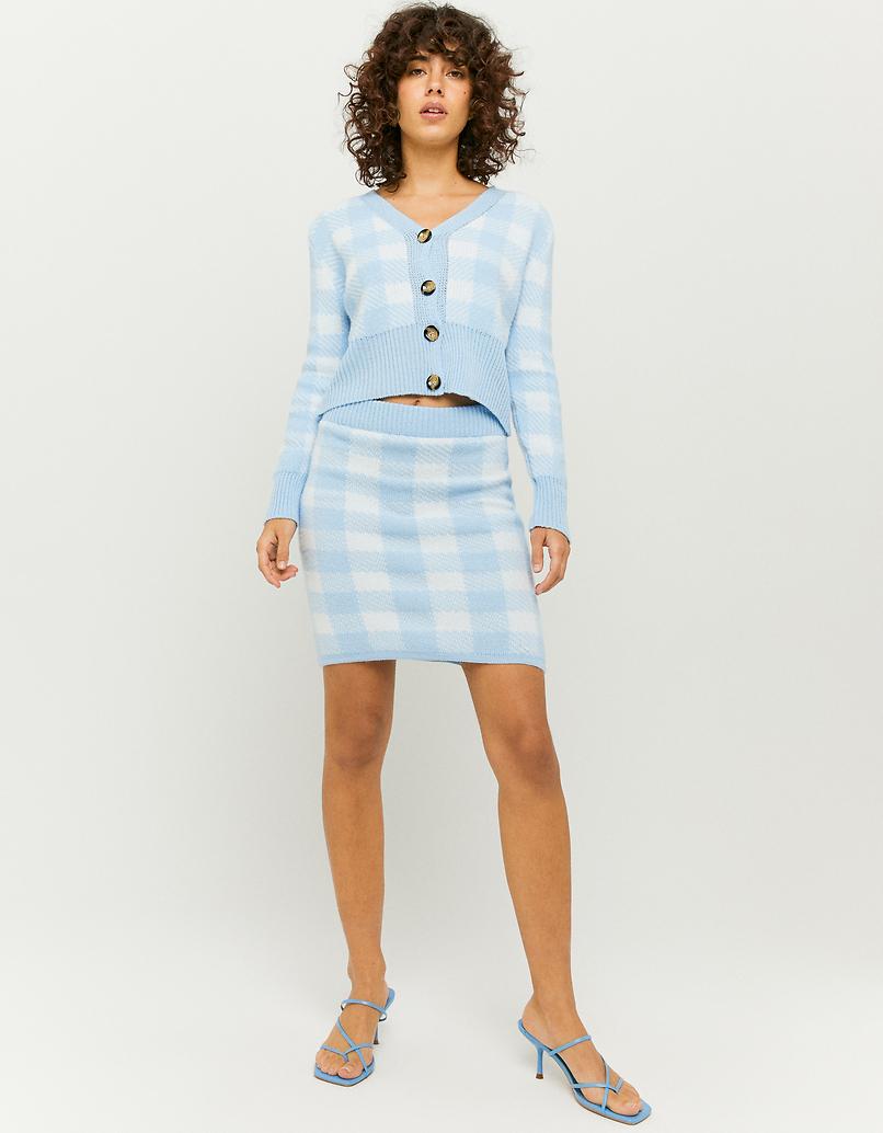 Blue Check Knitted Skirt