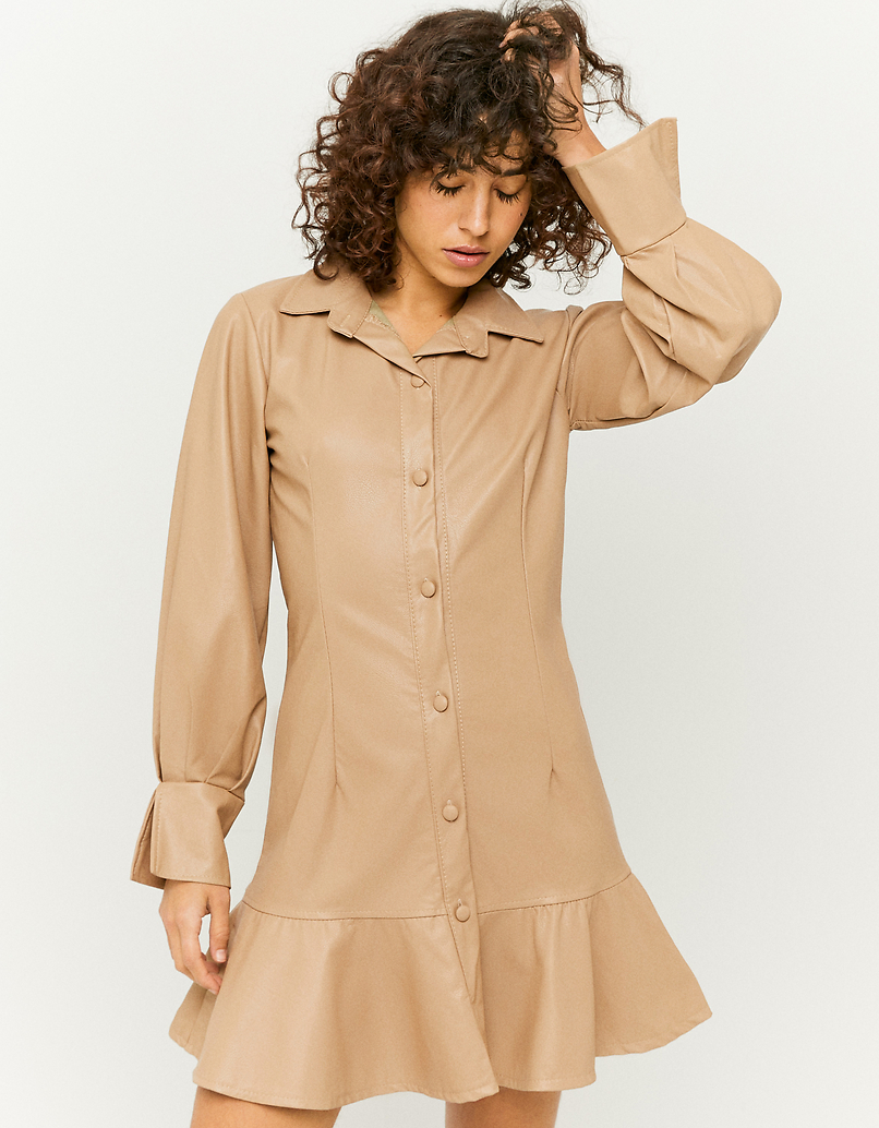 Beige Ruffle Hem Mini Shirt Dress