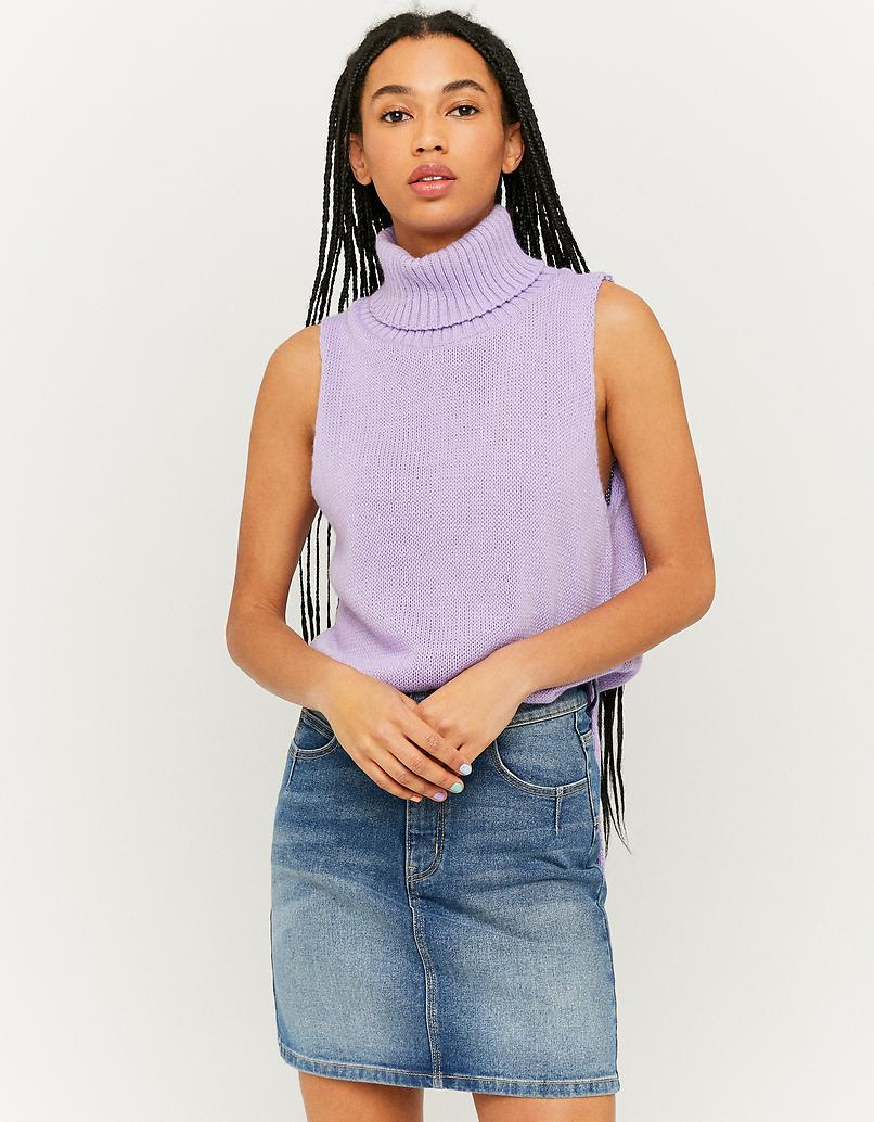 Ärmelloser Pullover mit Rollkragen