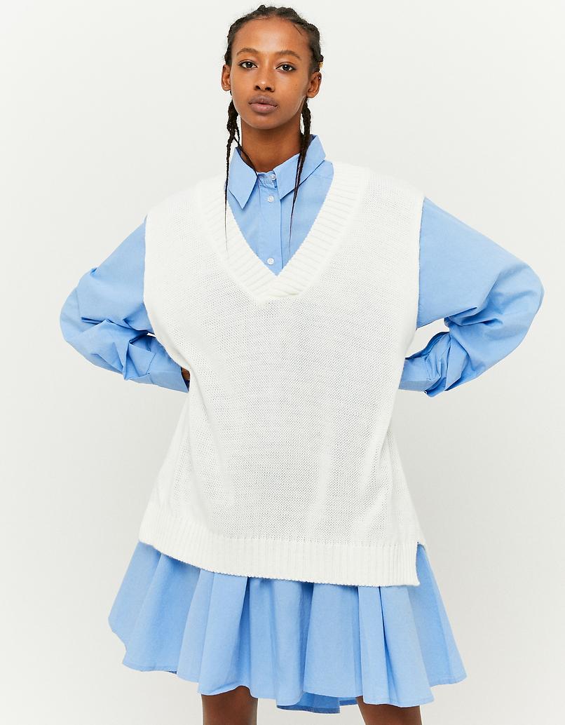 Ärmelloser Pullover mit V-Ausschnitt
