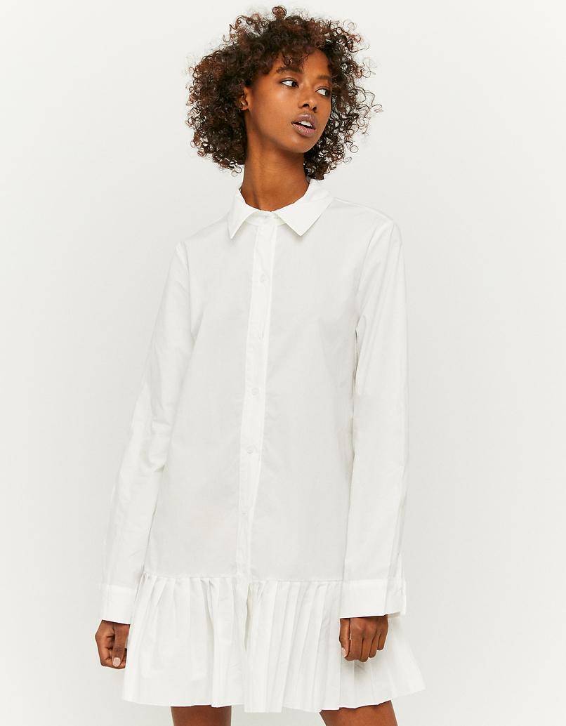 White Pleated Shirt Dress