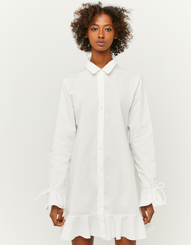 White Ruffle Shirt Dress