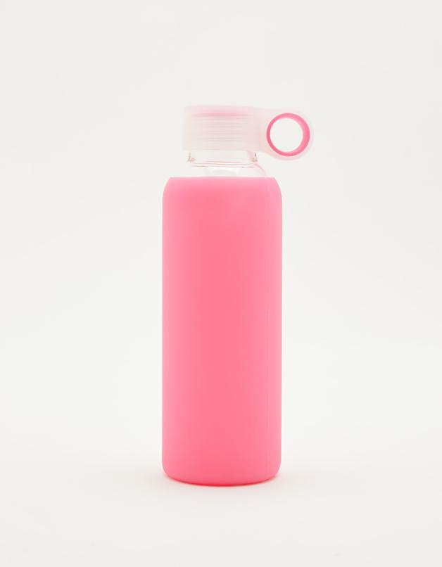 Różowa szklanka butelka z silikonową nakładką