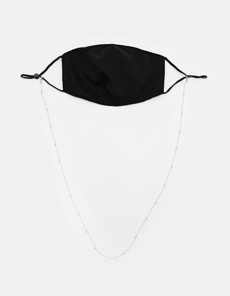 Czarna maseczka na twarz z łańcuszkiem