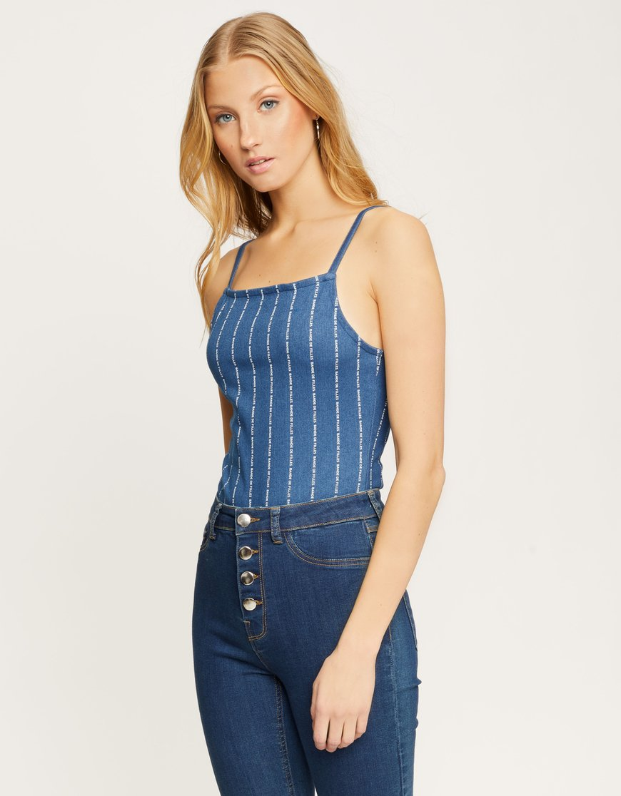 Blue Stripe Slogan Bodysuit