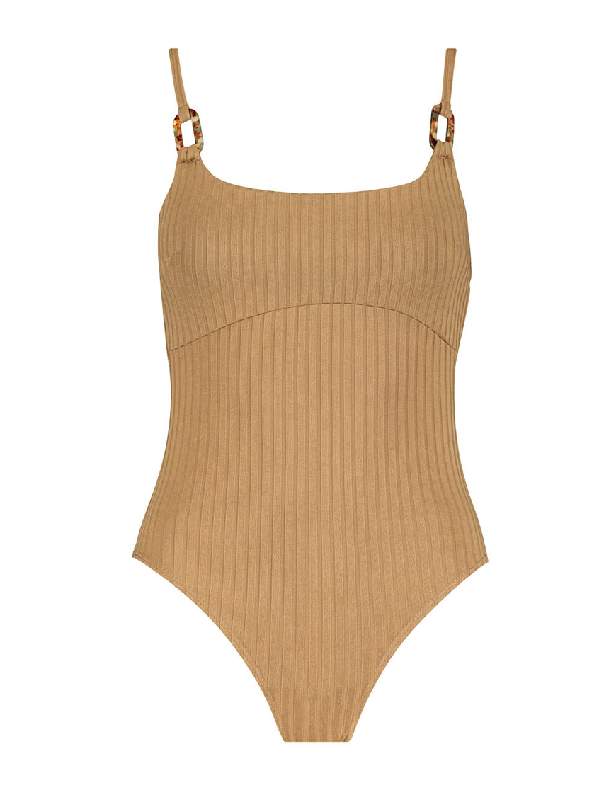 Beige Ribbed Bodysuit