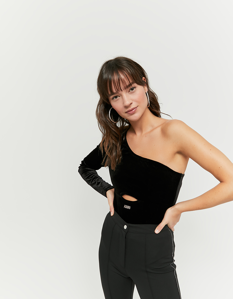 One Sleeve Velvet Bodysuit with Cut Out