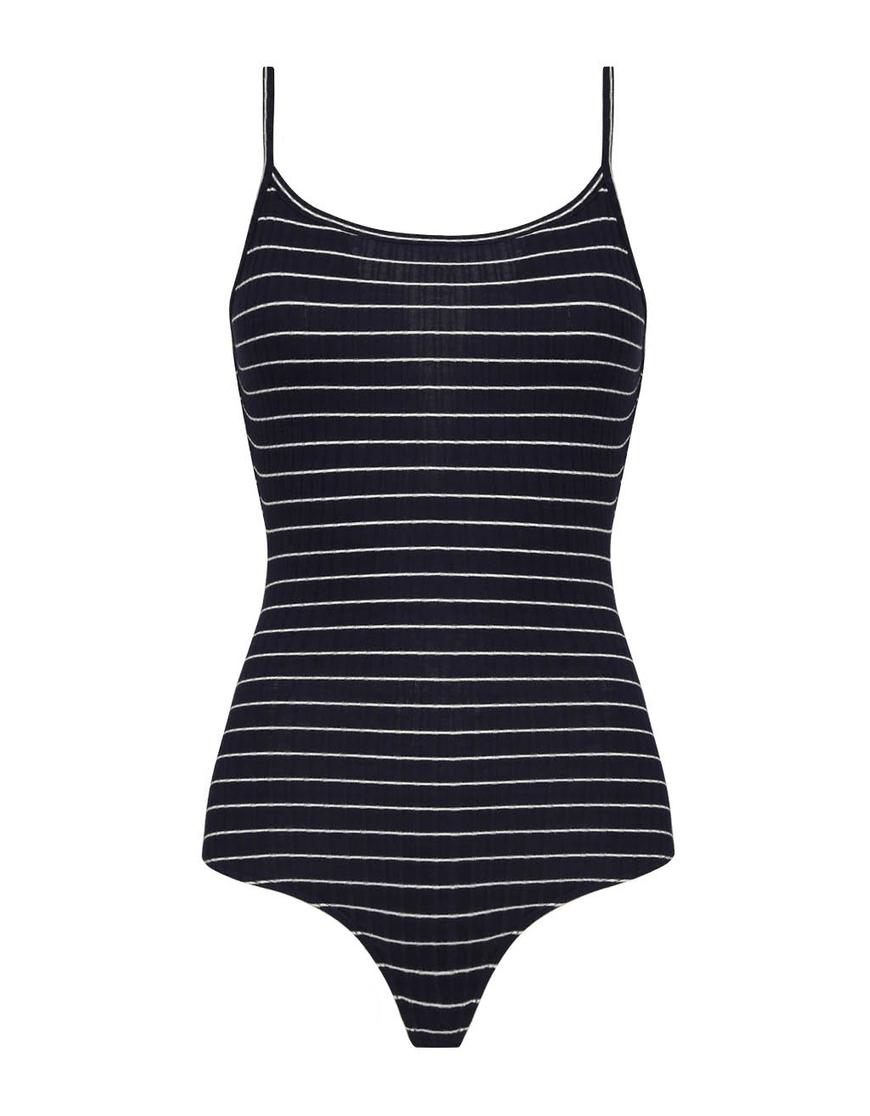 Dark Blue Striped Bodysuit