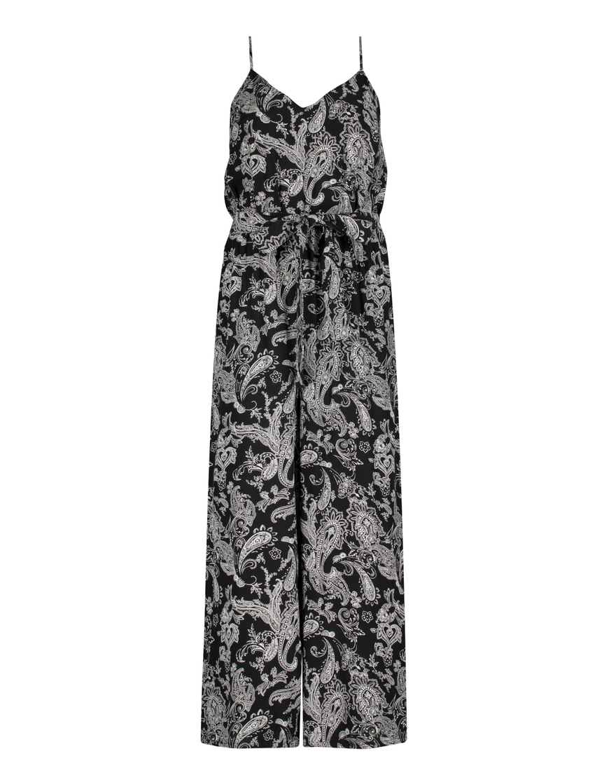 Schwarzer Jumpsuit mit Paisley Print
