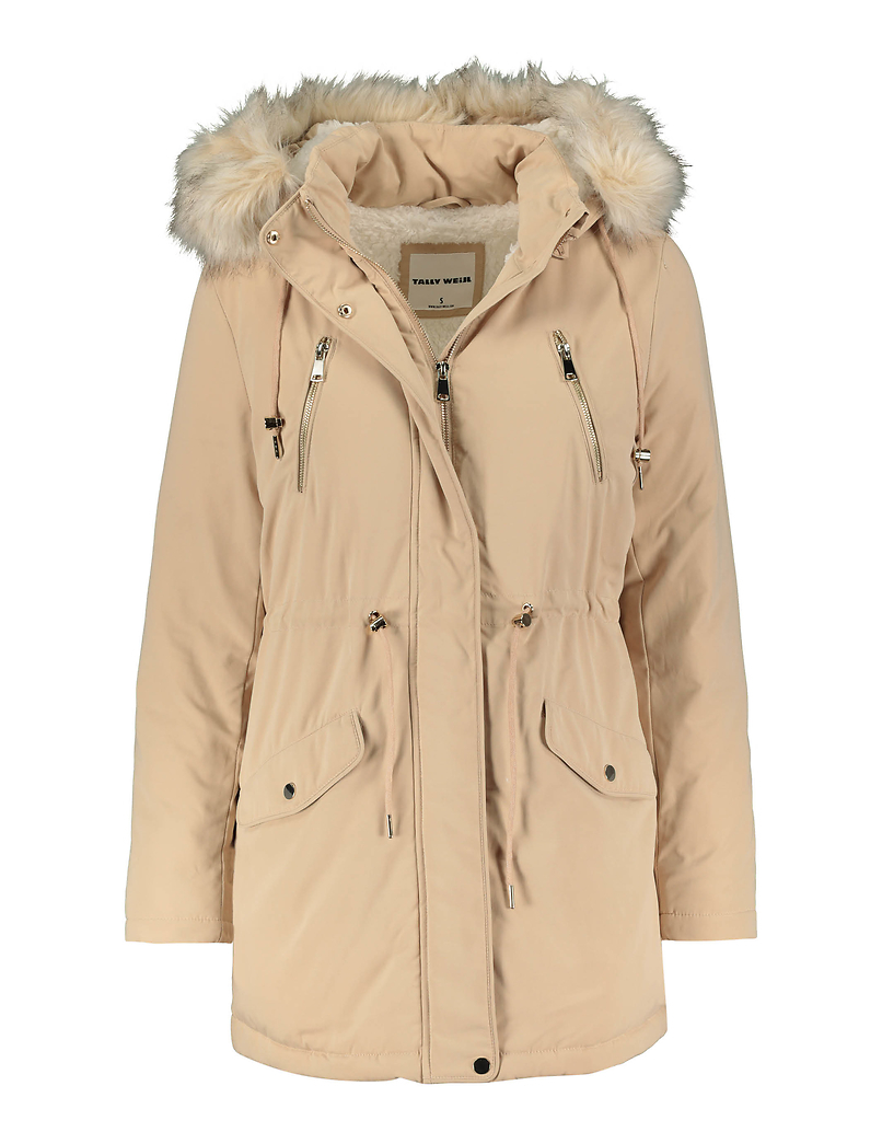Padded Parka with Removable Faux fur Hood Trim