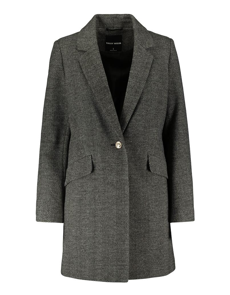 Gray Chevron Pattern Straight Fit Coat