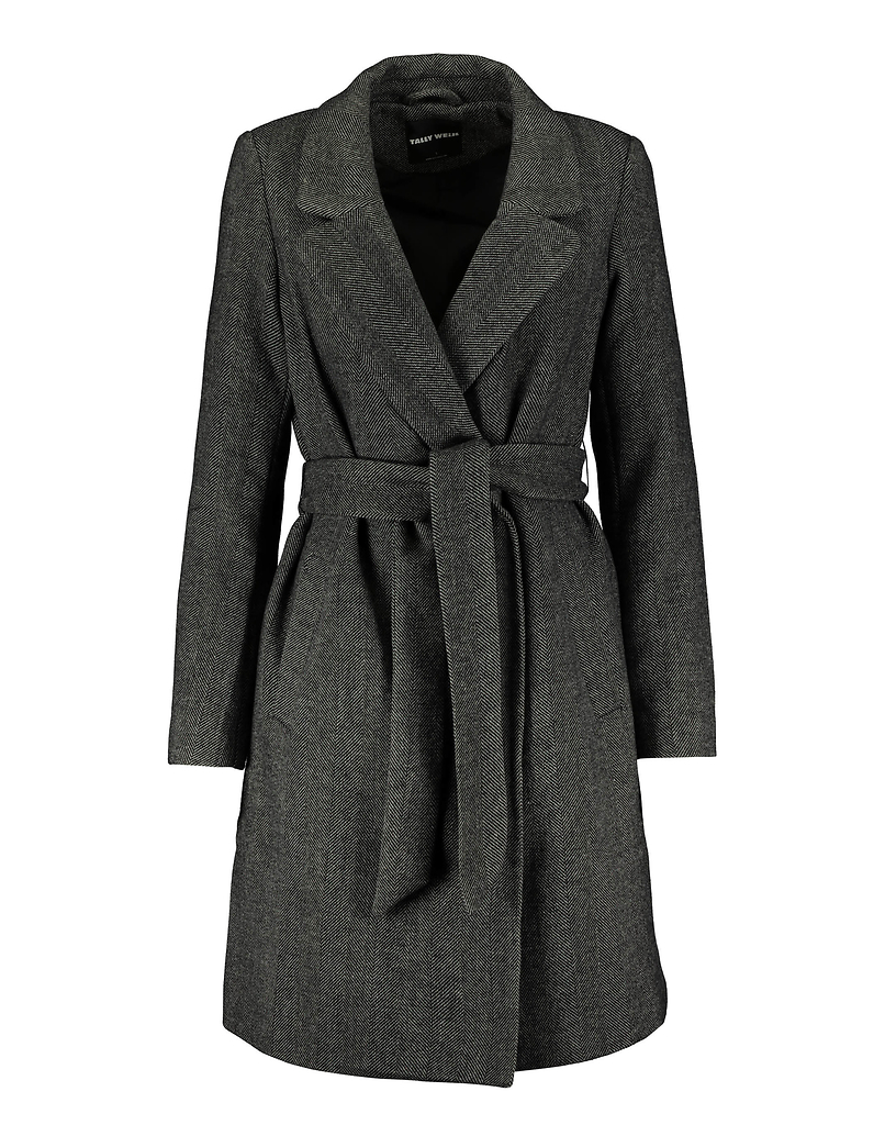 Straight Belted Coat in Chevron