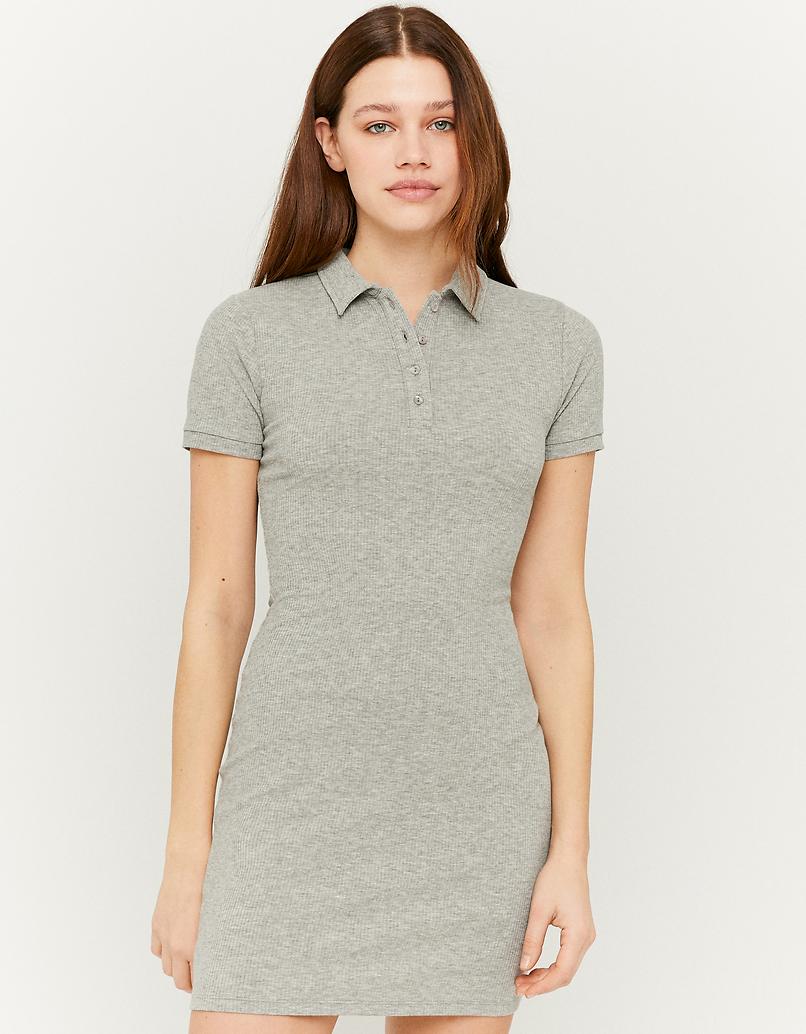 Grey Rib Shirt Dress