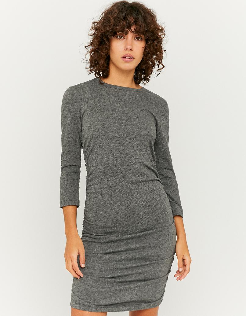 Gray Gathered Mini Dress