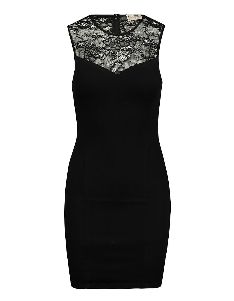 Schwarzes Kleid aus Spitze mit Herzausschnitt