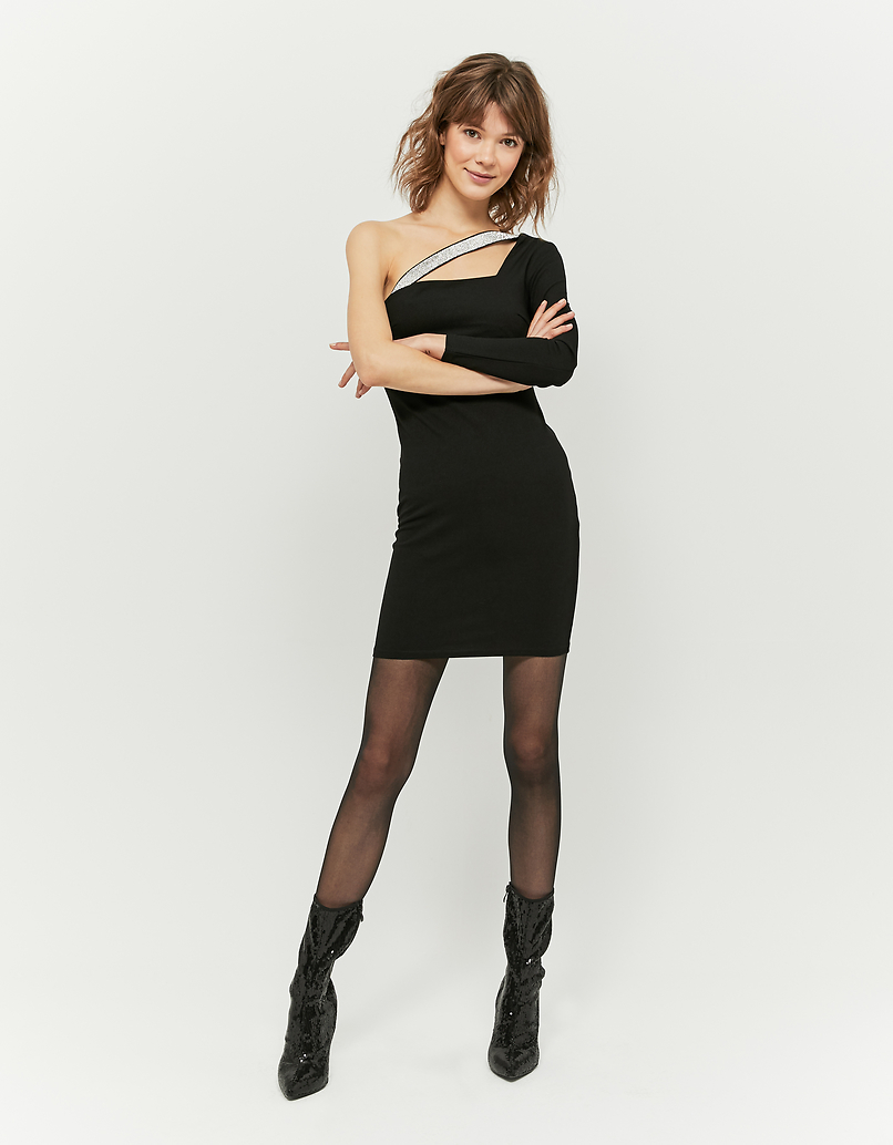 Schwarzes, assymetrisches Kleid