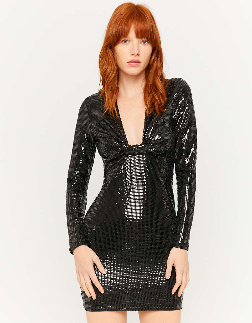 Sequin Plunge Mini Dress