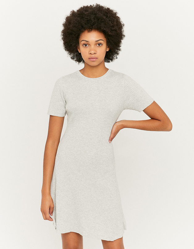 Grey Short Sleeve Knitted Dress