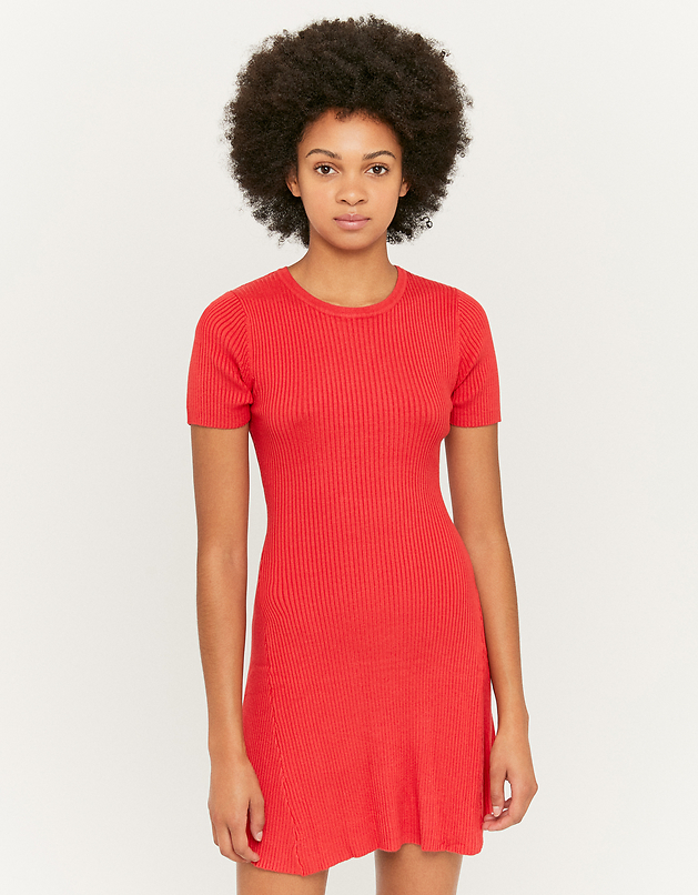 Red Short Sleeve Knitted Dress