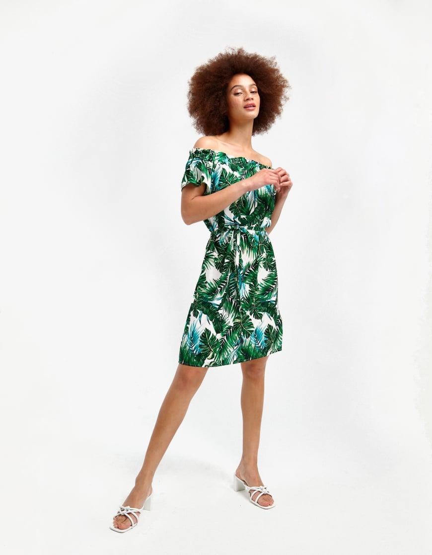 Schulterfreies Kleid mit Blumen