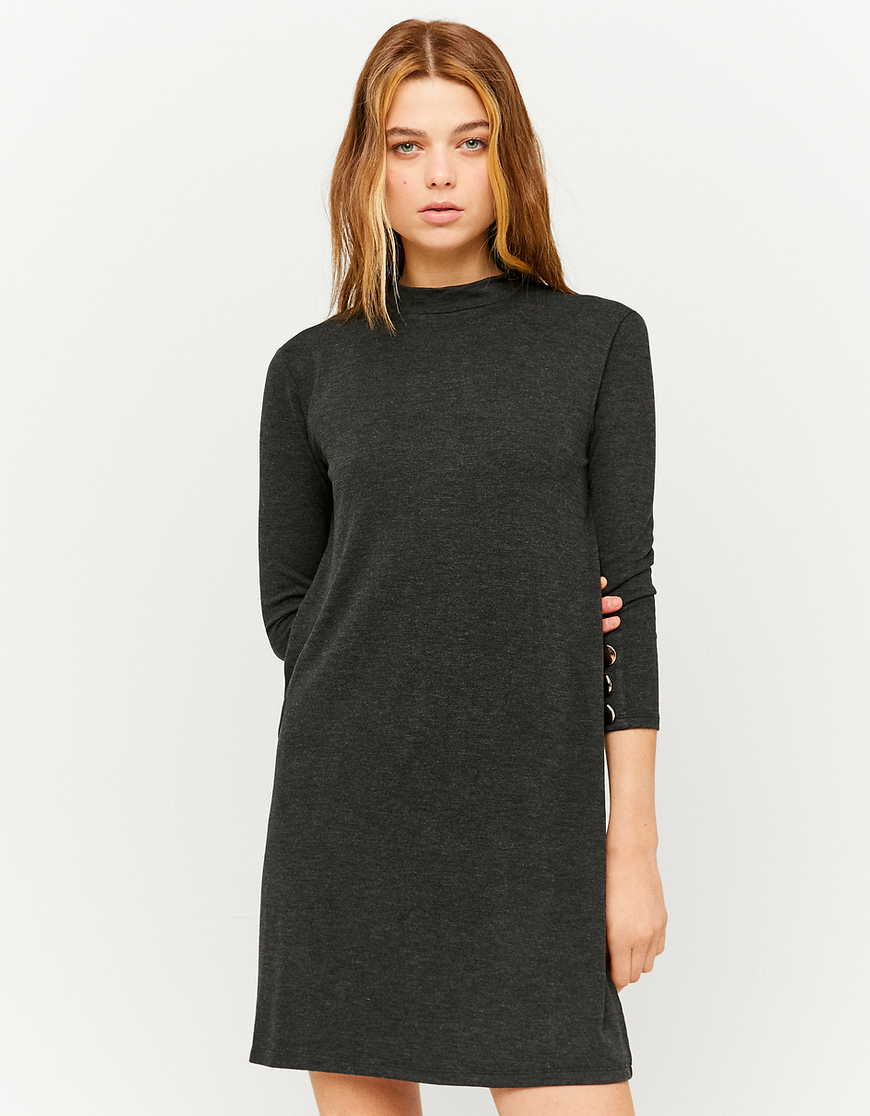 Soft Knit Mock Neck Long Sleeve Dress